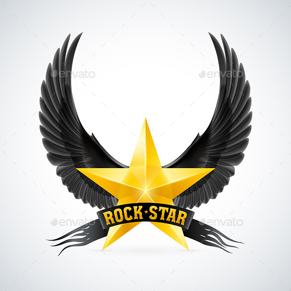 GraphicRiver Golden Star with Rock Star Banner and Wings 8915377