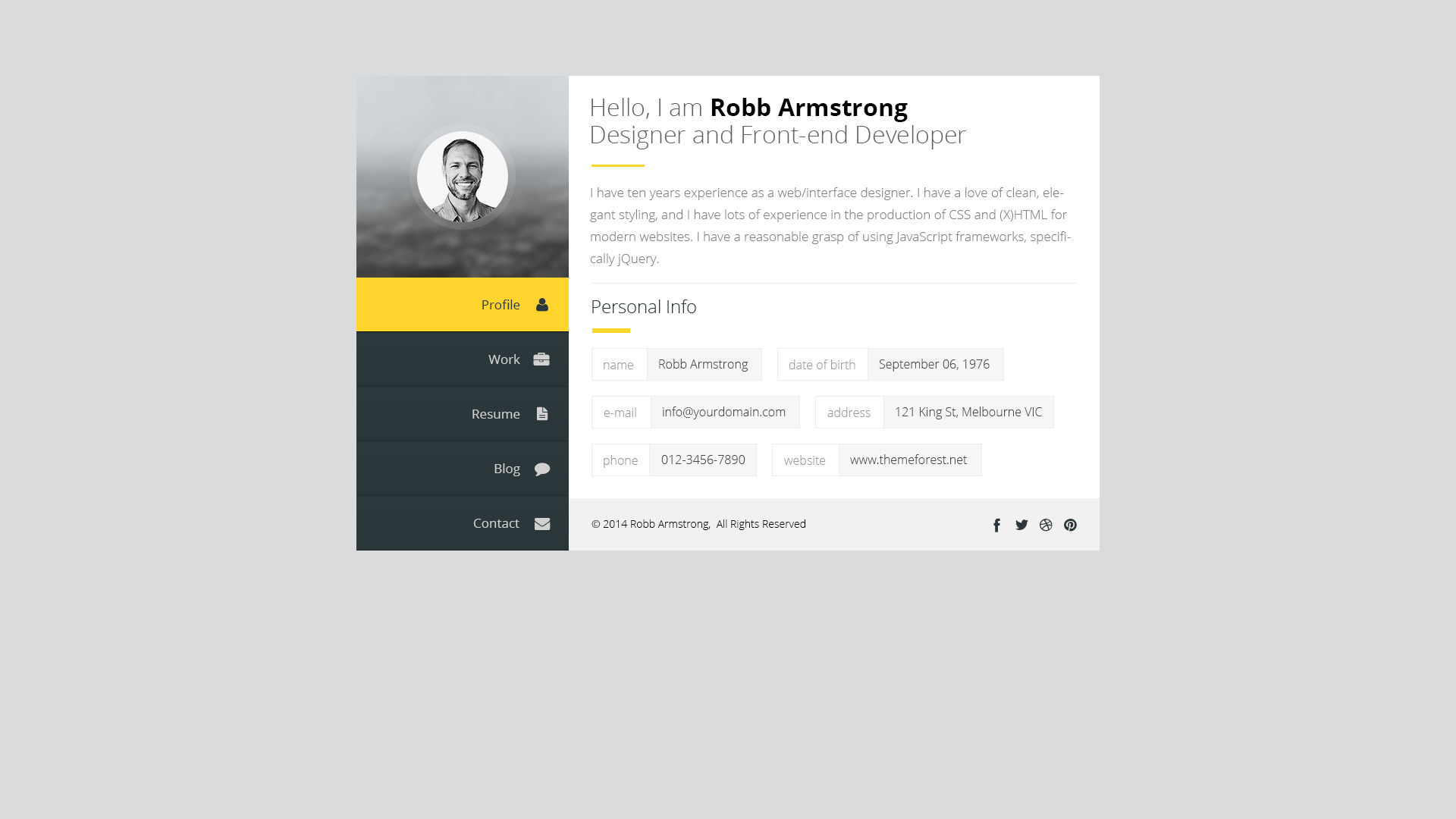 premium layers  html vcard  u0026 resume template by premiumlayers