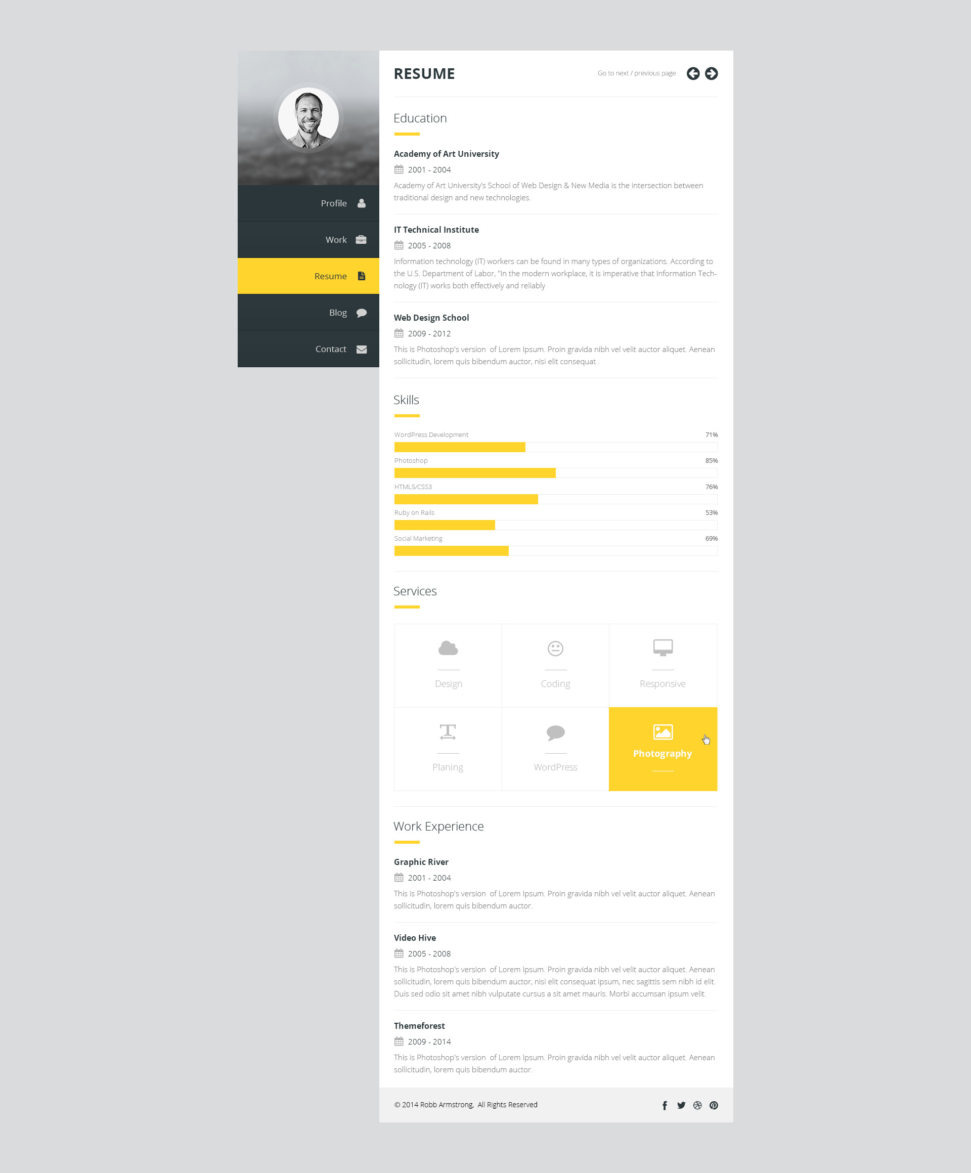 premium layers  html vcard  u0026 resume template by