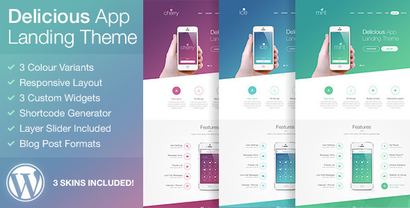 ThemeForest Delicious Responsive App Landing WordPress Theme 8824066