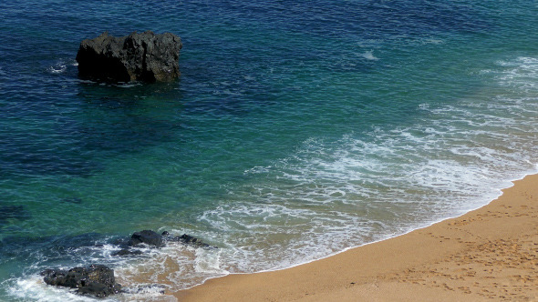 Waves Crashing on Rocks and Beach 892