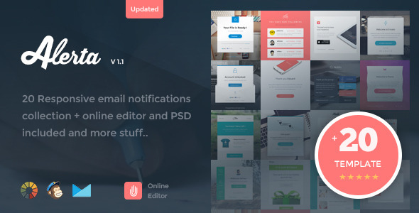 Alerta - 20 Responsive Email Notification + Online Editor - Newsletters Email Templates
