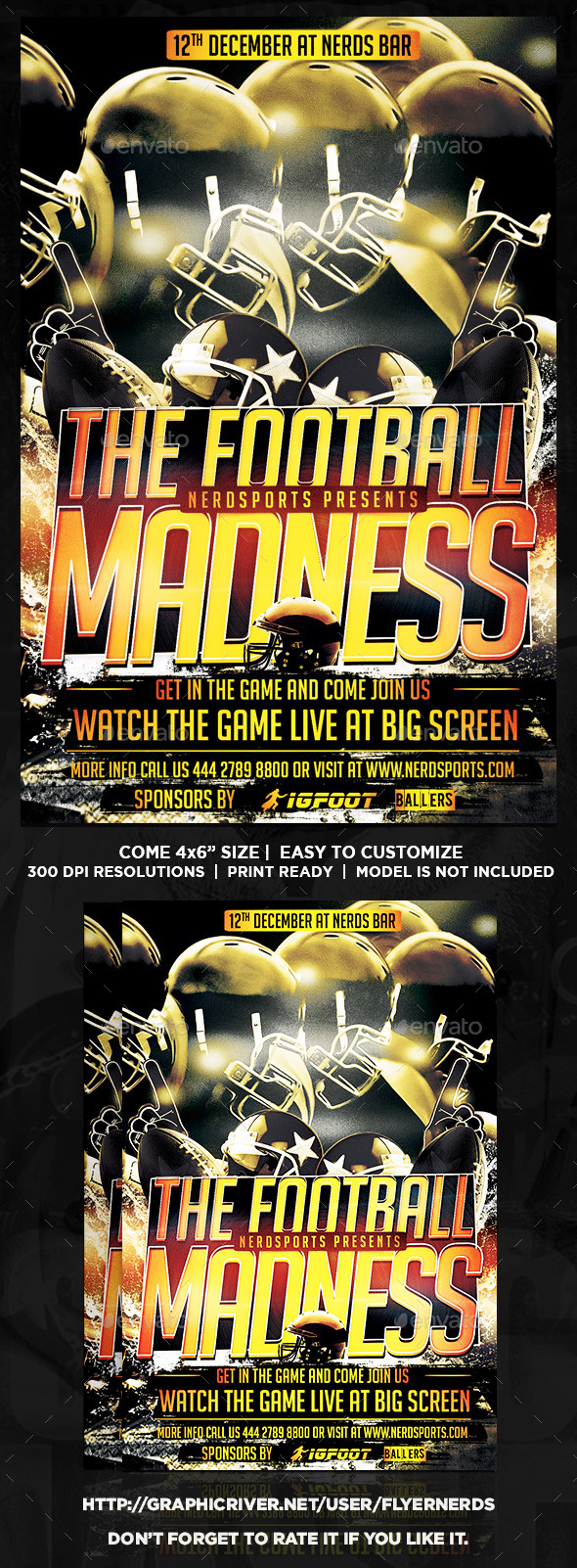 GraphicRiver Football Madness Flyer 8916147