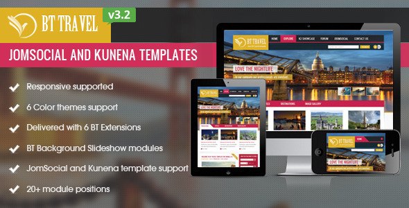 BT Travel - Jomsocial and Kunena Template