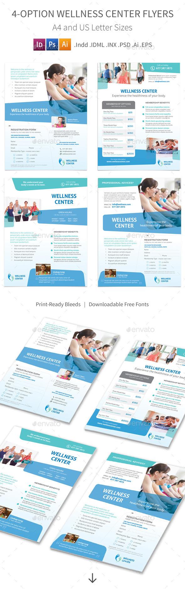 GraphicRiver Wellness Center Flyers 4 Options 8900971