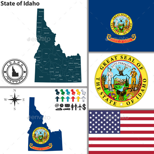 GraphicRiver Map of State Idaho USA 8918317