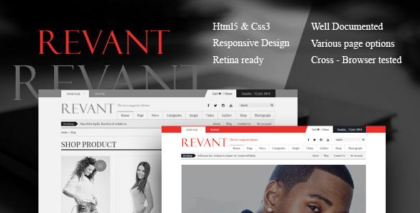 ThemeForest Revant Magazine HTML5 template 8918318