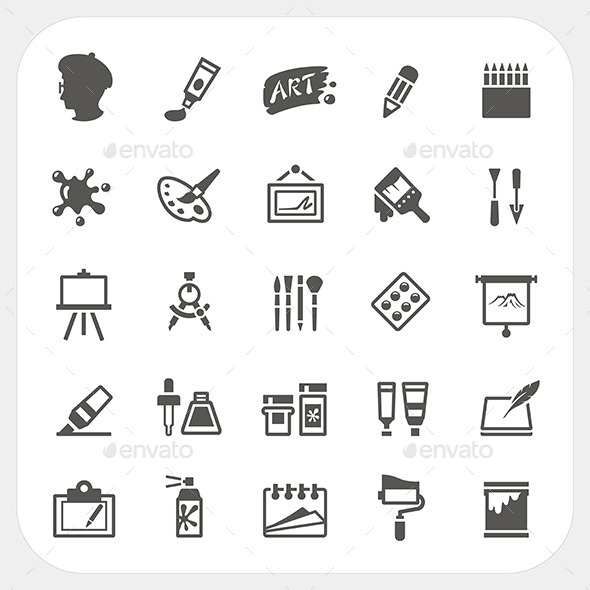 GraphicRiver Art Icons Set 8918417
