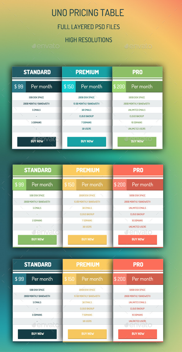 GraphicRiver Uno Pricing Table 8918487