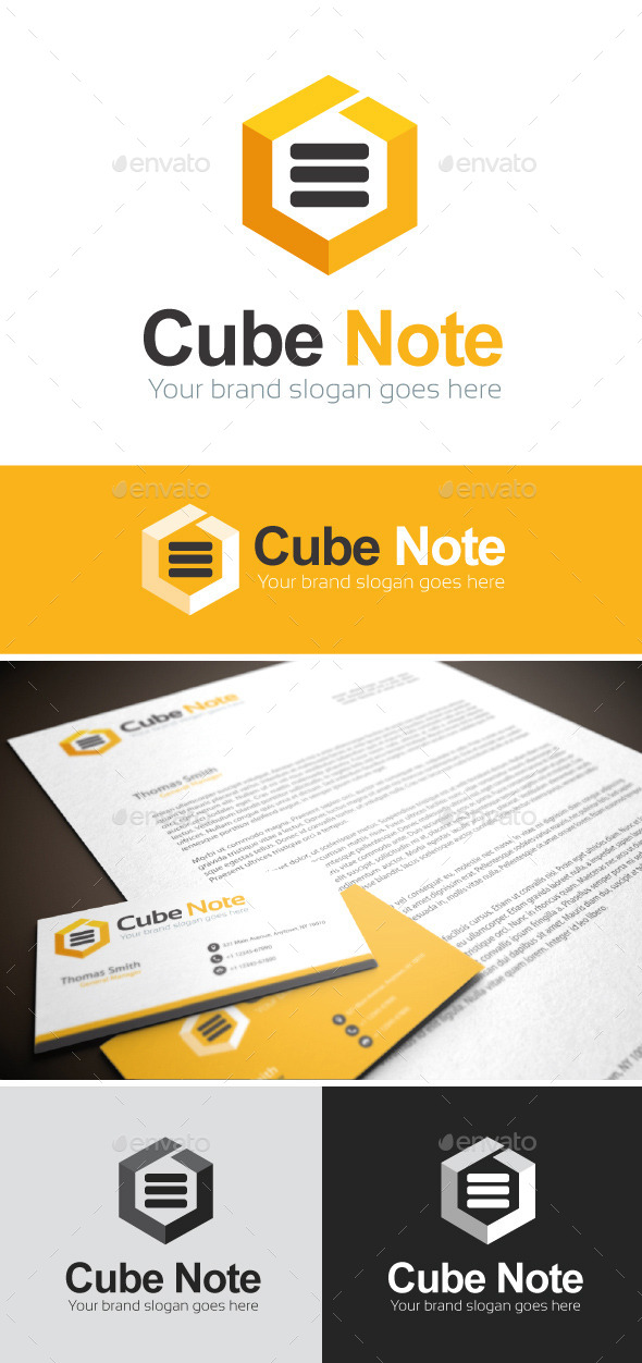 GraphicRiver Cube Note Logo Template 8892914
