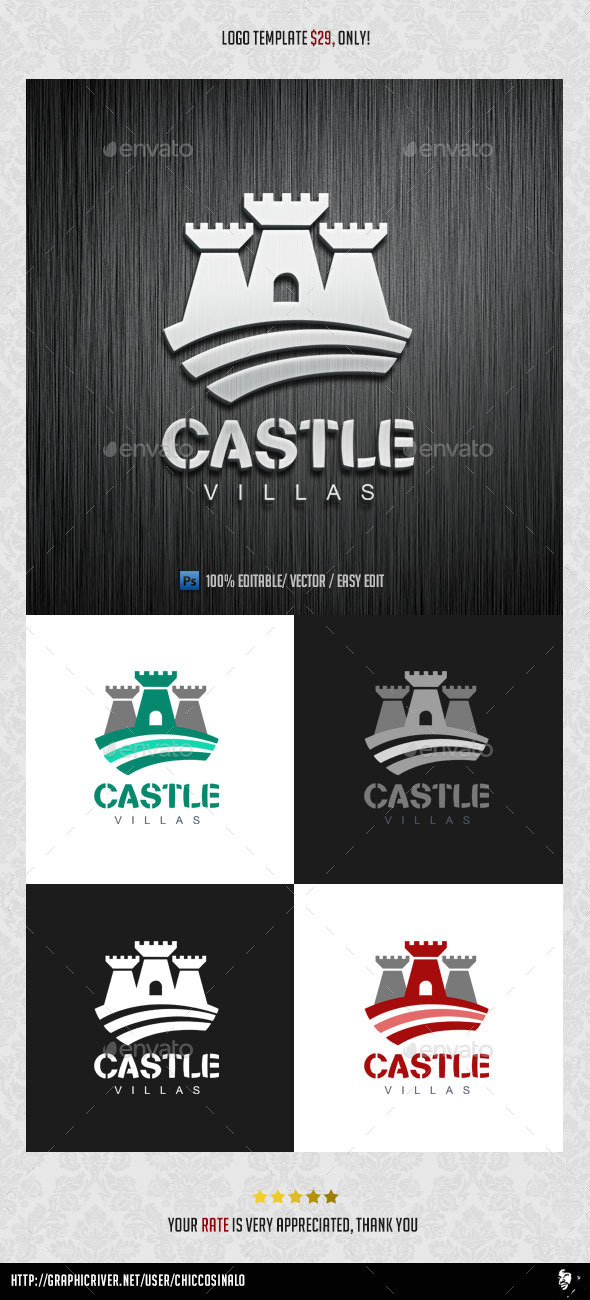 GraphicRiver Castle Villas Logo Template 8918653