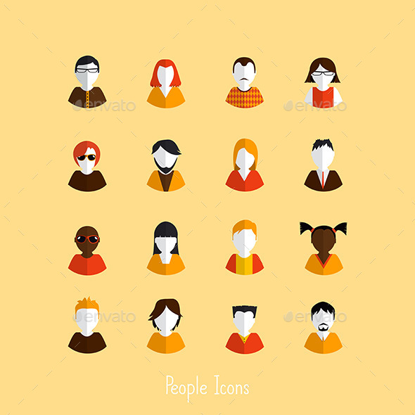GraphicRiver Set of Stylish Avatars of Girls and Guys 8918884