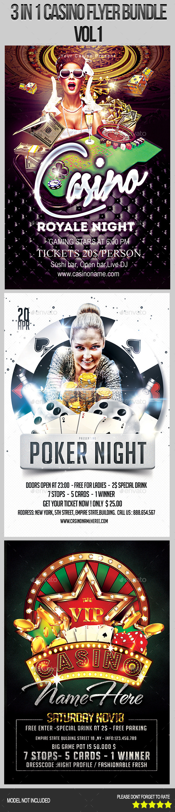 GraphicRiver 3 in 1 Casino Flyer Bundle 8918926