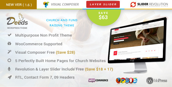 Deeds- Best Nonprofit Church Organization WP Theme - Churches Nonprofit