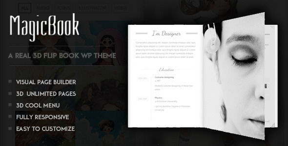 ThemeForest MagicBook A 3D Flip Book WordPress Theme 8808169