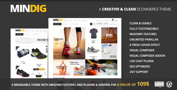 ThemeForest Mindig a Flat & Multipurpose Ecommerce Theme 8922501