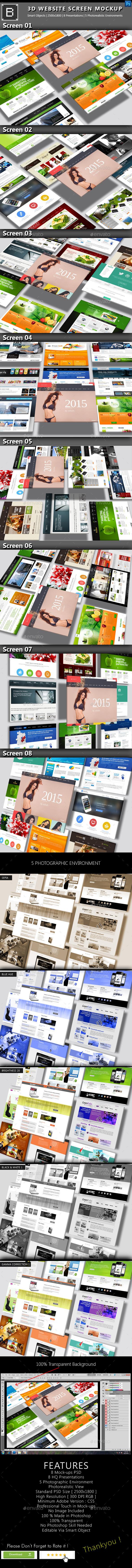GraphicRiver 3D Website Screen Mockup 8922593