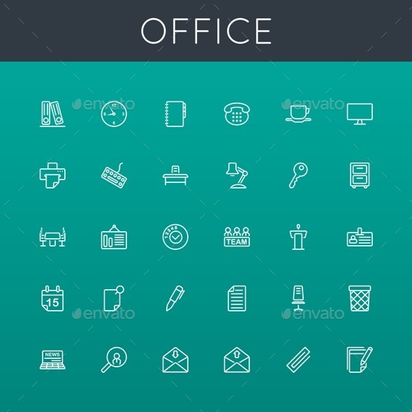 GraphicRiver Vector Office Line Icons 8922628