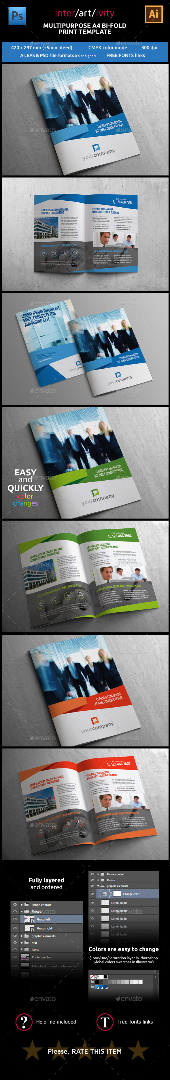 GraphicRiver MULTIPURPOSE A4 BI-FOLD PRINT TEMPLATE 8913766