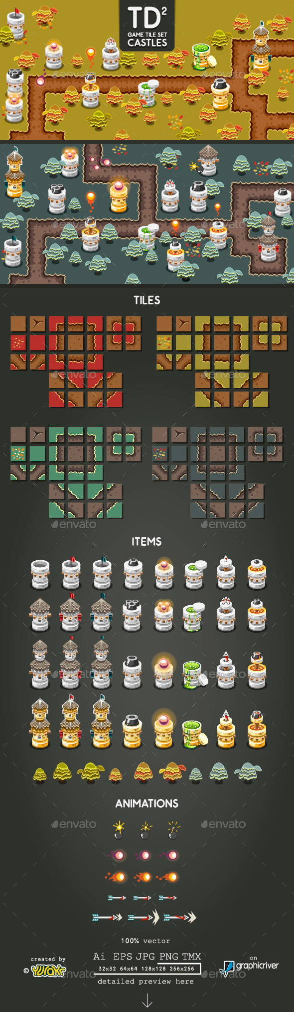 Tower Defence Game Tile Set Two