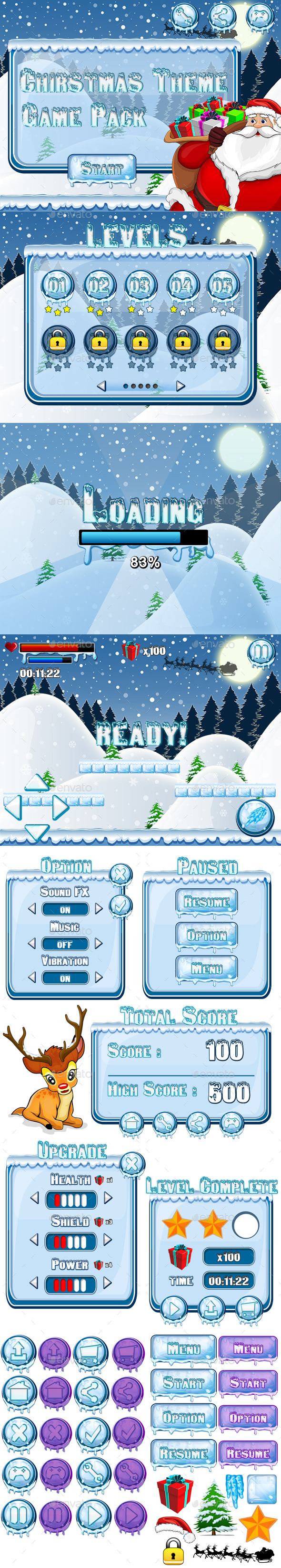 GraphicRiver Mobile Game Pack Christmas Theme 8923961