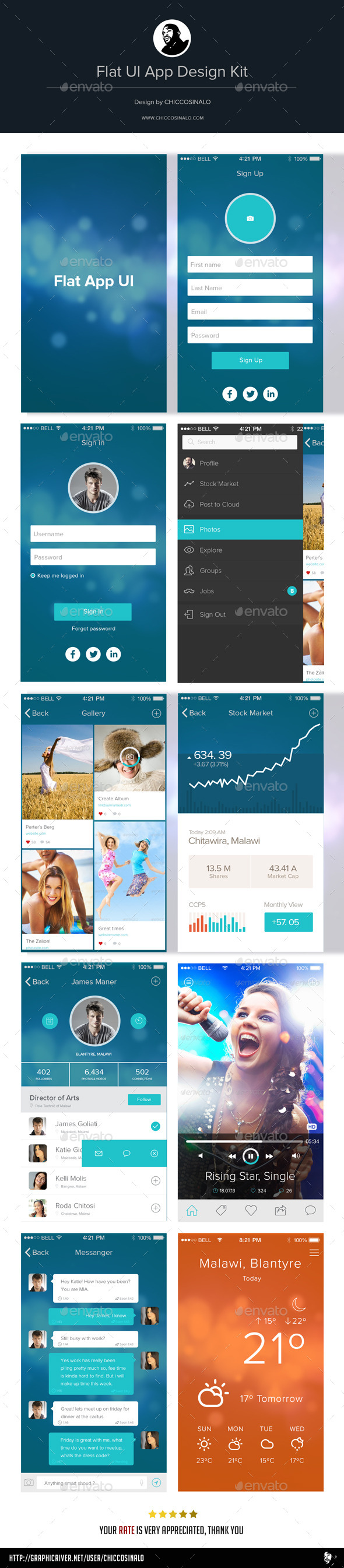 GraphicRiver Flat App UI Design Kit 8924032