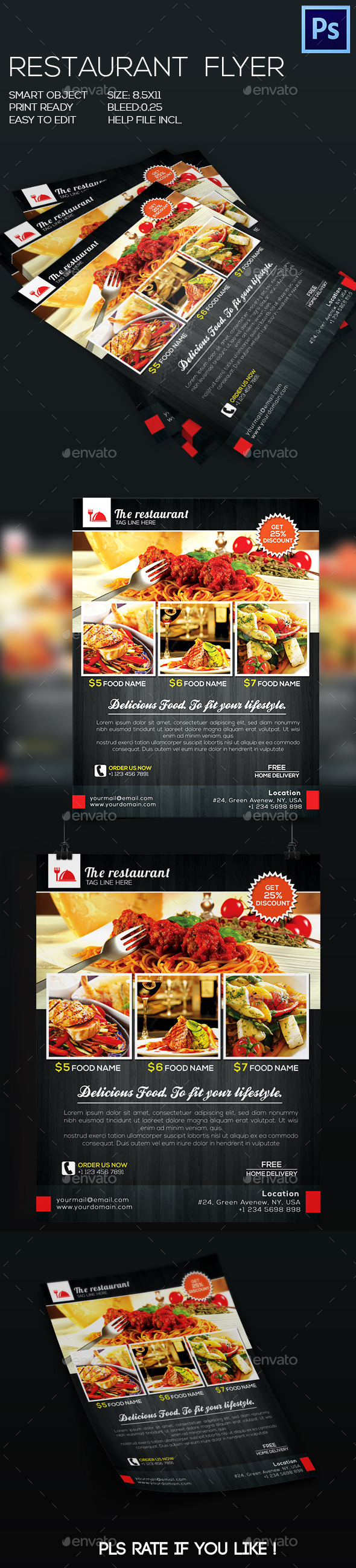 GraphicRiver Restaurant Food Flyer V-2 8924091