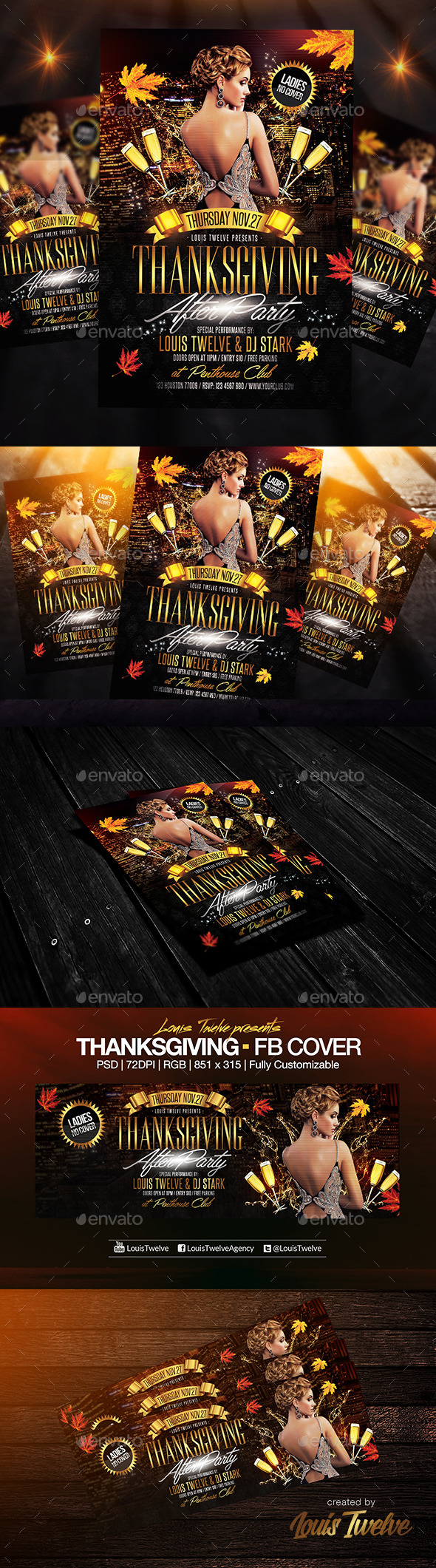 GraphicRiver Thanksgiving After Party Flyer & FB Cover 8915442