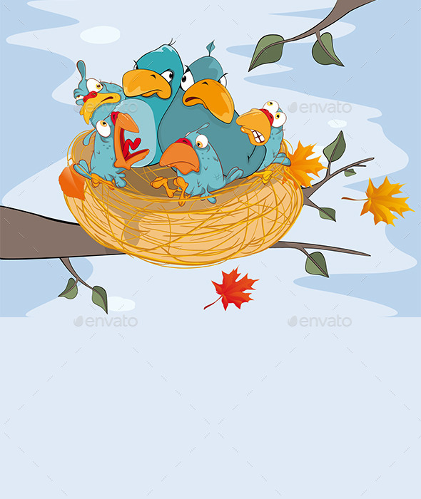 GraphicRiver Birds with Her Four Babies in a Nest Cartoon 8880169