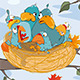 Birds with Her Four Babies in a Nest Cartoon  - GraphicRiver Item for Sale