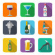 Set of Alcohol and Barmen Equipment Icons  - GraphicRiver Item for Sale