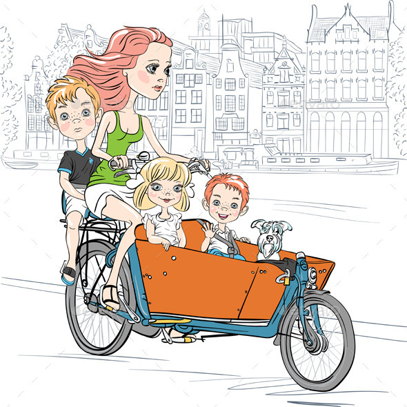 GraphicRiver Girl Carries Children on a Bike 8924553