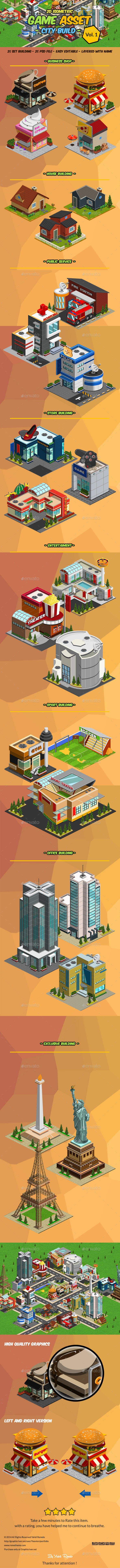 GraphicRiver 2D Isometric Game Asset City Build Vol 1 8924699