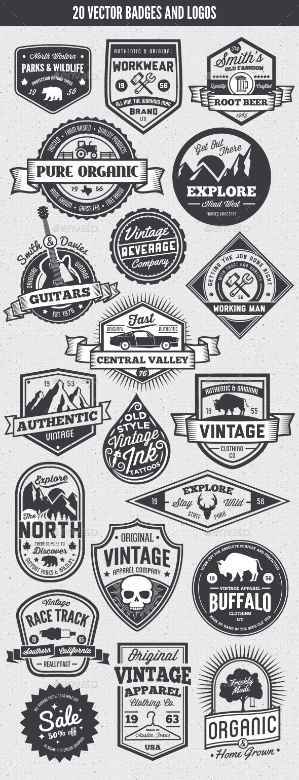 20 Vintage Style Badges and Logos