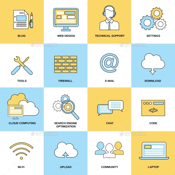 GraphicRiver Web Flat Line Icons 8925549