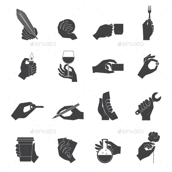 GraphicRiver Hand Holding Objects Black Set 8925729