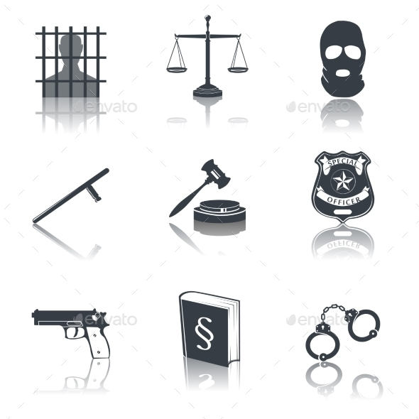 GraphicRiver Law and Justice Icons Black 8925753