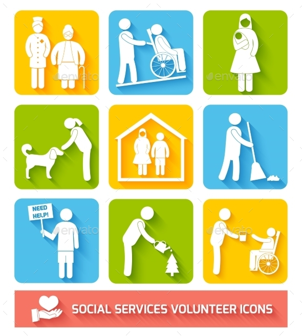 GraphicRiver Social Services Icons Set Flat 8925779
