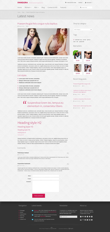 Pandora — Responsive Shopify HTML5 Theme