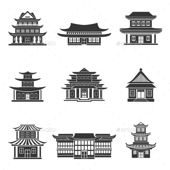 GraphicRiver Chinese House Icons Black 8925804