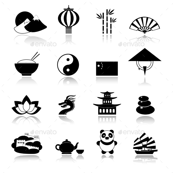 GraphicRiver China Icons Set Black 8925806