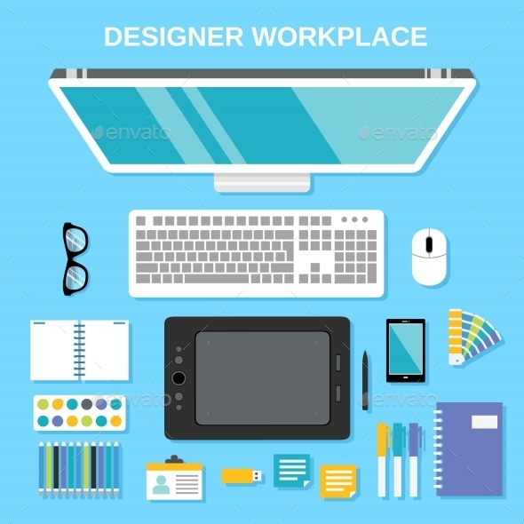 GraphicRiver Designer Workplace Top View 8925808