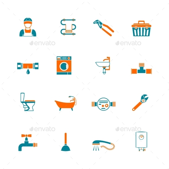 GraphicRiver Plumbing Icons Set 8925815