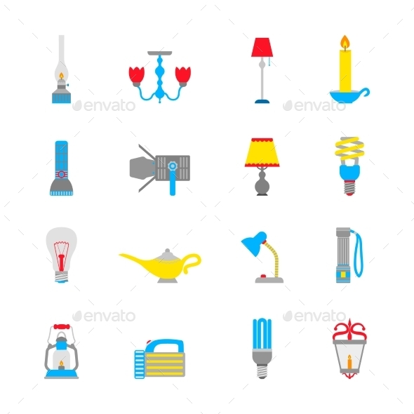 GraphicRiver Flashlight and Lamps Icons 8925816
