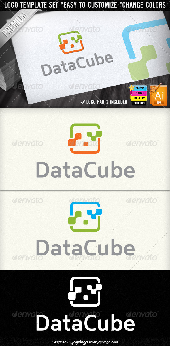 Data Cube Abstract Digital Electronics Logo Design