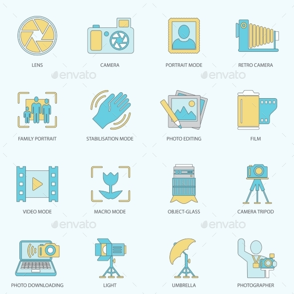 GraphicRiver Photography Icons Flat Line 8925832