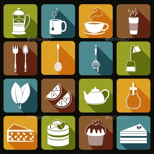 GraphicRiver Tea Icons Set Flat 8925975