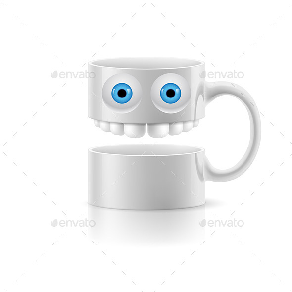 GraphicRiver White Mug of Two Parts with Two Eyes and Teeth 8925985
