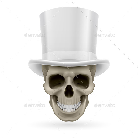 GraphicRiver Human Skull with Hat On 8925988