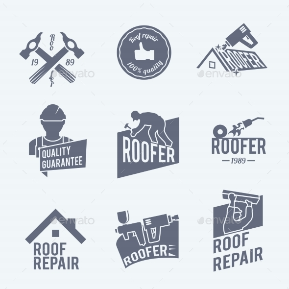 GraphicRiver Roofer Label Set Grey 8925989